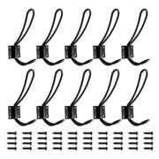 Rustic Entryway Hooks | 10 Pack of Black Wall Mounted Vintage Double Coat