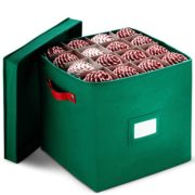 "Christmas Ornament Storage Box With Lid - Protect and Keeps Safe Up To 64 Holiday Ornaments & Xmas Decorations Accessories, Durable Non-Woven Ornament Storage Container, 3"" Compartments & Two Handles"