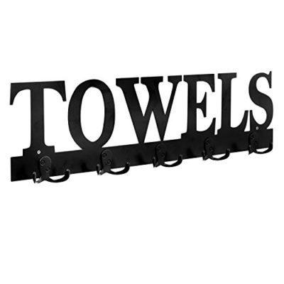 MyGift Black Metal Towels Design Wall Mounted 5 Dual-Hook Towel Hanger Rack for Bathroom or Kitchen