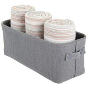 mDesign Soft Cotton Fabric Bathroom Storage Bin with Coated Interior and Handles - Organizer for Towels, Toilet Paper Rolls - for Closets, Cabinets, Shelves - Textured Weave - Small - Charcoal Gray