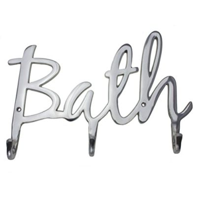 """Comfify Modern Style """"Bath"""" Wall Mount Towel Holder and Robe Hook Hand-Cast Aluminum Bathroom Hanger Decor w/ 3 Hooks for Towels, Robes, Clothing 