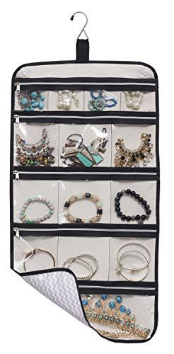 Hanging Jewelry Organizer Travel Foldable Jewelry Roll Storage Case