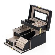 SONGMICS [UJBC114] Jewelry Box, Girls Jewelry Organizer and Storage, Mother's Day Gift, Lockable Black