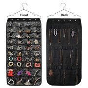 Beaverve Hanging Jewelry Organizer, Double Sided 40 Pockets and 20 Magic Tape Hook Jewelry Organizer, Necklace Holder Jewelry Chain Organizer for Earrings Necklace Bracelet Ring with Hanger, Black