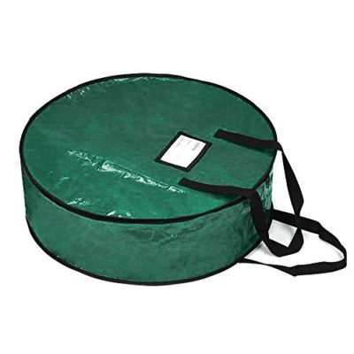 """ProPik Wreath Storage Bag Polyester Tear Resistant Fabric for Holiday Easy Storage Featuring Heavy Handel's and Transparent Card Slot 36"""" X 36"""" X 8"""" (Green)"""