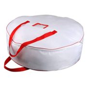 "Christmas Wreath Storage Bag - Xmas Large Wreath Container - Reinforced Wide Handle and Double Sleek Zipper - Heavy Duty Protect Your Holiday Advent, Garland, Party Decorations and Ornaments 30"",White"