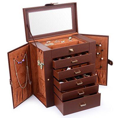 Kendal Huge Leather Jewelry Box/Case / Storage LJC-SHD5BN (Brown)
