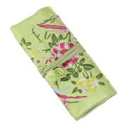 Jewelry Roll,Travel Jewelry Roll Bag,Silk Embroidery Brocade Jewelry Organizer Case with Tie Close,Light Green Flower