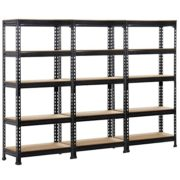 """Topeakmart 3 pack Heavy Duty 5 Tier Commercial Industrial Racking Garage Shelving Unit Adjustable Display Stand,59.1"""" Height"""