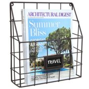 Brown Metal Wire Wall Magazine Rack Bin