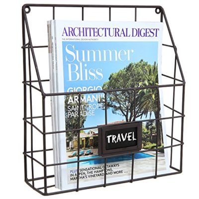Brown Metal Wire Wall Magazine Rack Bin