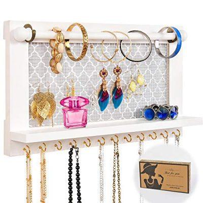 Wall Mounted White Wood Jewelry Organizer Holder with Hooks Shelf