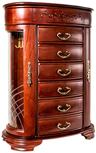 Hives and Honey Patricia Etched Glass Mahogany Jewelry Chest Jewelry Box