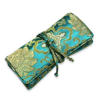 Jewelry Roll Clutch Large - Silk Brocade (Lotus Marine)