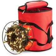 ZOBER Premium Christmas Light Storage Bag - with 3 Metal Reels