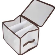 Juvale String Lights Storage Box - Christmas LED Lights Organizer Container, Translucent Bin with Brown Trim and Handle, Heavy Duty Zippered Closure, Winders Included, 12 x 9.5 x 10 Inches