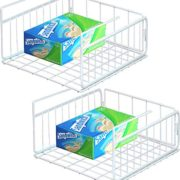 Simple Houseware 2 Pack Under Shelf Basket, White