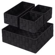 Woven Storage Box Cube Basket Bin Container Tote Organizer Divider for Drawer,Closet,Shelf, Dresser,Set of 4 (Black)
