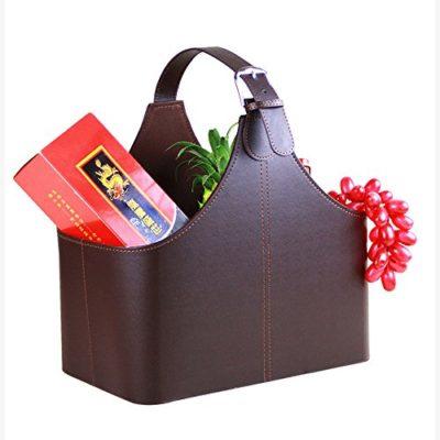 Leather Gift Basket, Magazine Newspaper Holder/Racks