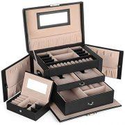 SONGMICS Jewelry Box, Girls Jewelry Organizer, Mini Travel Case