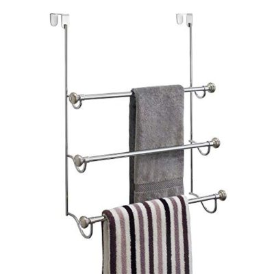 "interDesign York Over the Shower Door Towel Rack for Bathroom 1.5"" x 7"" x 22.8"" Chrome/Brushed"