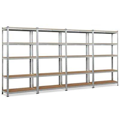 "Topeakmart 5 Tier Storage Rack Heavy Duty Adjustable Garage Shelf Steel Shelving Units,71""Height (4 Bay Garage Shelves)"