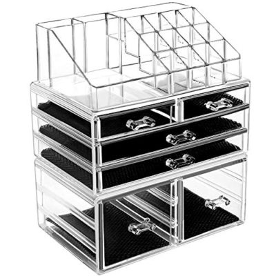 3 Pieces Acrylic Cosmetic Storage Drawers and Jewelry Display Box