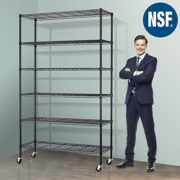 "Storage Metal Shelf Wire Shelving Unit with Wheels 82""x48""x18"" Sturdy Steel Heavy Duty 6 Tier Layer Rack with Casters for Restaurant Garage Pantry Kitchen Garage Rack Black"
