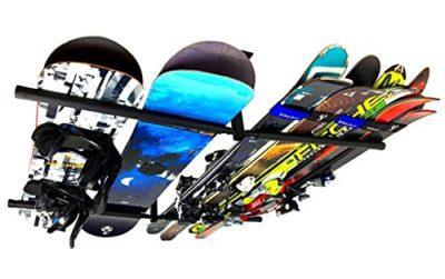 StoreYourBoard Ski & Snowboard Ceiling Storage Rack - Hi-Port 2 Overhead Hanger Mount