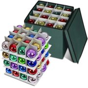 Propik Holiday Ornament Storage Box Chest, with 4 Trays Holds Up to 64 Ornaments Balls, with Dividers Made with Durable 600D Oxford Polyester Material (Green)
