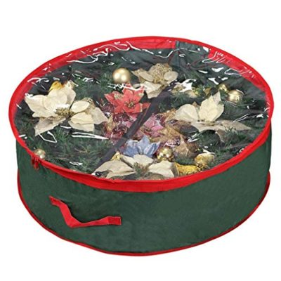 "Primode Wreath Storage Bag with Clear Window | Garland or Xmas Wreath Container for Easy Storage (30"" Holiday Wreath Bags) Constructed of Durable 600D Oxford Material (Green)"