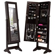 LANGRIA Lockable Jewelry Cabinet Jewelry Armoire with Mirror Jewelry Holder Organizer Storage, 4 Angle Adjustable, Brown