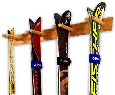 Timber Ski Wall Rack - 4 Pairs of Skis Storage - Wood Home & Garage Mount System (Natural)