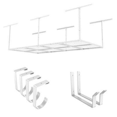"FLEXIMOUNTS 4x8 Overhead Garage Rack with Add-on Hooks Set Heavy Duty Height Adjustable Ceiling Racks (22''-40"" Ceiling Dropdown), White"