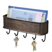 "InterDesign Twillo Mail, Decorative Wall Mounted Key Rack Pocket and Letter Sorter Holder for Entryway, Kitchen, Mudroom, Home Office Organization, 10.5"" x 2.5"" x 4.5"" Bronze"
