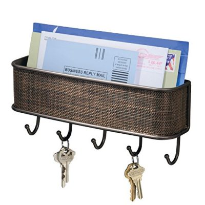 """InterDesign Twillo Mail, Decorative Wall Mounted Key Rack Pocket and Letter Sorter Holder for Entryway, Kitchen, Mudroom, Home Office Organization, 10.5"""" x 2.5"""" x 4.5"""" Bronze"""