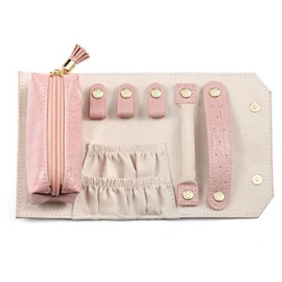 Vlando Small Travel Jewelry Roll Bag Organizer, Smart Size & Light Weight for Daily Jewelries (Pink)