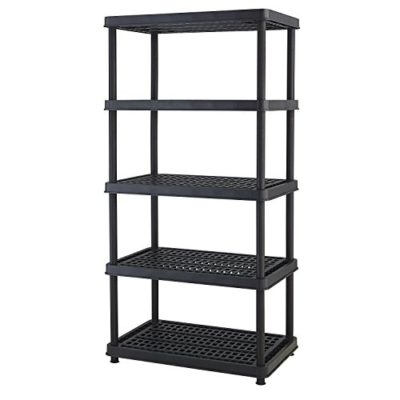 Keter 5-Shelf Heavy Duty Utility Freestanding Ventilated Shelving Unit Storage Rack, Black