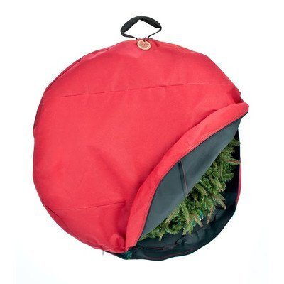 TreeKeeper Wreath Storage Bag with Direct Suspend Handle, Red, 30-Inch