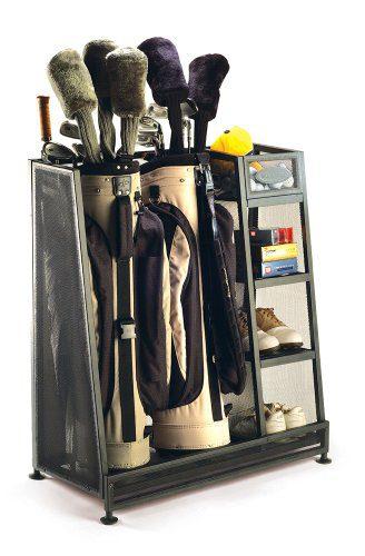 Suncast Golf Bag Garage Organizer Rack - Golf Equipment Organizer Storage