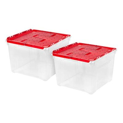 IRIS USA, Inc. WL-60 Holiday Wing-Lid Box with Ornament Dividers, 60 Qt 2 Pack Red 2 Count