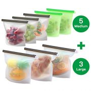 8 Pack Reusable Silicone Food Storage Bag ( 5 Medium & 3 Large) for Sandwich/Sous Vide/Snack/Lunch/Fruit, Leakproof, Dishwasher Safe, Microwave Freezer, Maintain Freshness and Food Quality