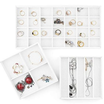 Jewelry Organizer Trays 18 Slot Muti-use Jewelry Storage Holder Leather