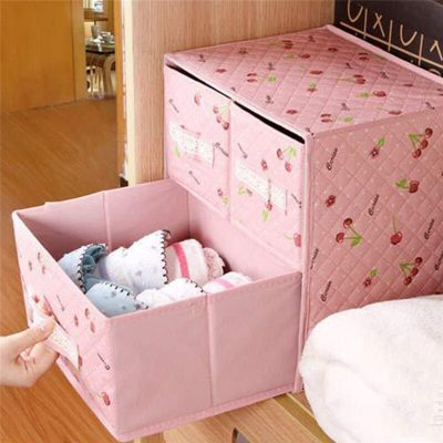 Lace Non-woven Two Layer Three Drawer Bra Organizer Underwear Classified Storage Box Sundries Container Pink Color