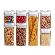 Airtight Food Storage Containers I Pantry Organization and Storage I 7 Piece Set I No Brittle Polystyrene I Most Durable Lids I Kitchen Pantry Containers I Dishwasher Safe I BPA Free