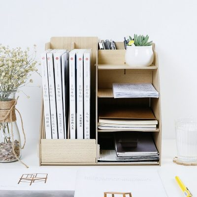 Wood Multi-Use Office Organizer Sundries Table Storage Box Colorful DIY Files Racks Eco Stationary/Book Storage Holder