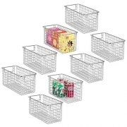 "mDesign Farmhouse Decor Metal Wire Food Storage Organizer, Bin Basket with Handles for Kitchen Cabinets, Pantry, Bathroom, Laundry Room, Closets, Garage - 12"" x 6"" x 6"" - 8 Pack - Chrome"