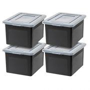 IRIS USA, Inc. R-FB-21E Letter and Legal Size File Box, Black, 4 Pack