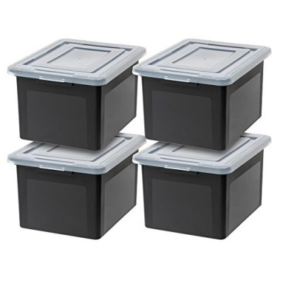 IRIS USA, Inc. R-FB-21E Letter and Legal Size File Box, Black, 4 Pack