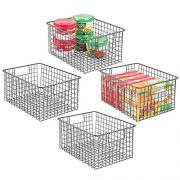"mDesign Farmhouse Decor Metal Wire Food Storage Organizer Bin Basket with Handles - for Kitchen Cabinets, Pantry, Bathroom, Laundry Room, Closets, Garage - 12"" x 9"" x 6"" - 4 Pack - Graphite Gray"